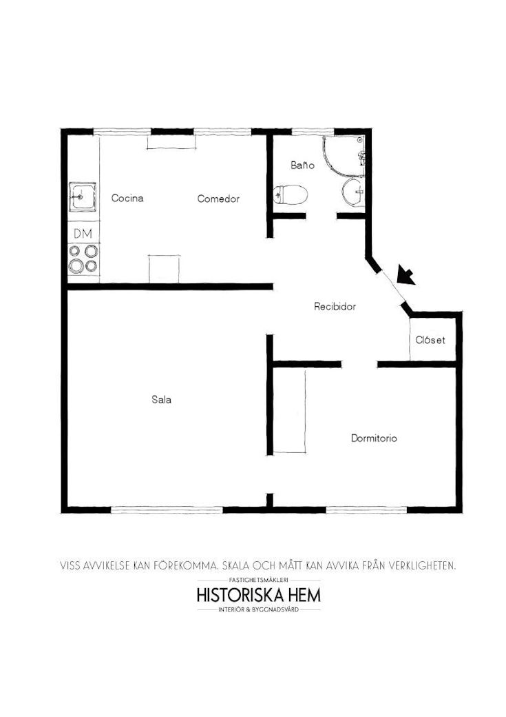 Departamento pequeño nórdico de 51 metros²: plano de la vivienda