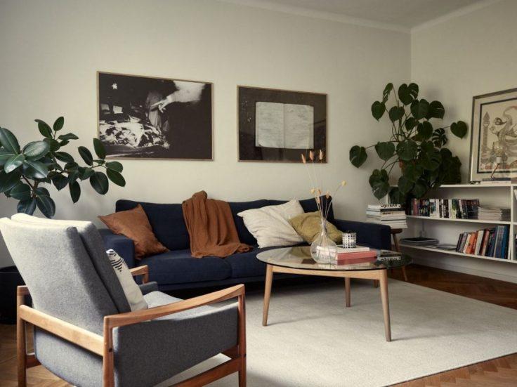 Departamento pequeño nórdico de 51 metros²: sala con buena distribución y muebles escandinavos 8