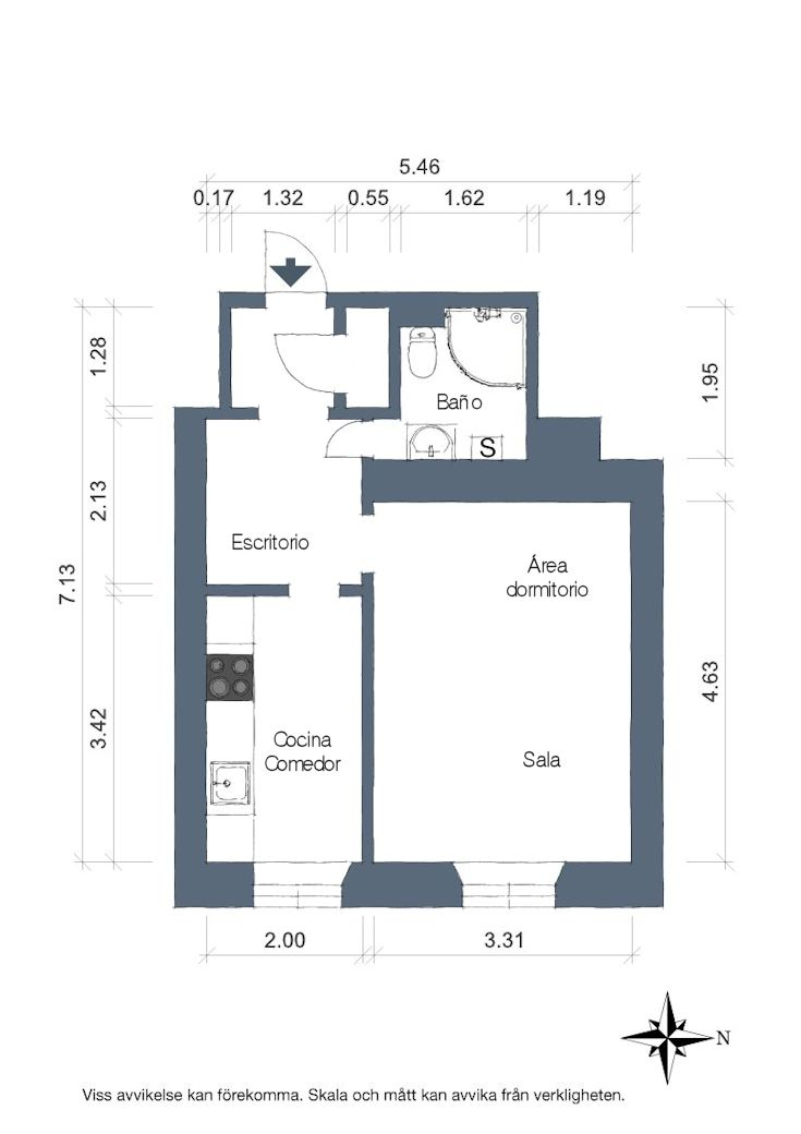 Decoración de minidepartamentos: 36 metros² bien resueltos - Plano del departamento
