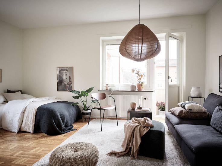 Ambiente principal que integra la zona del living con la del dormitorio