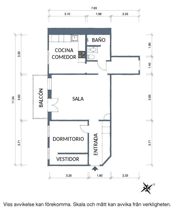Plano departamento 1 dormitorio con cocina independiente