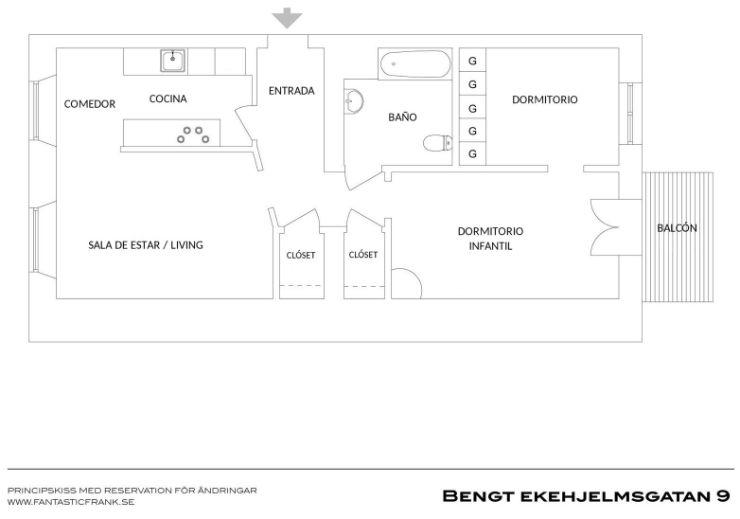 Plano del departamento de 2 dormitorios