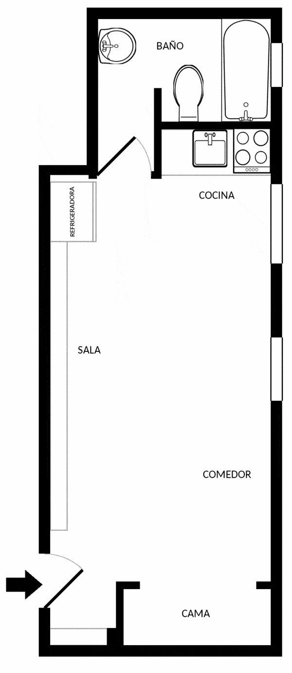 Plano del mini apartamento de 18 metros cuadrados de superficie total