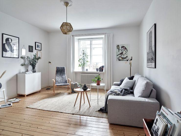 Departmento de 35 metros²: sala estilo nórdico