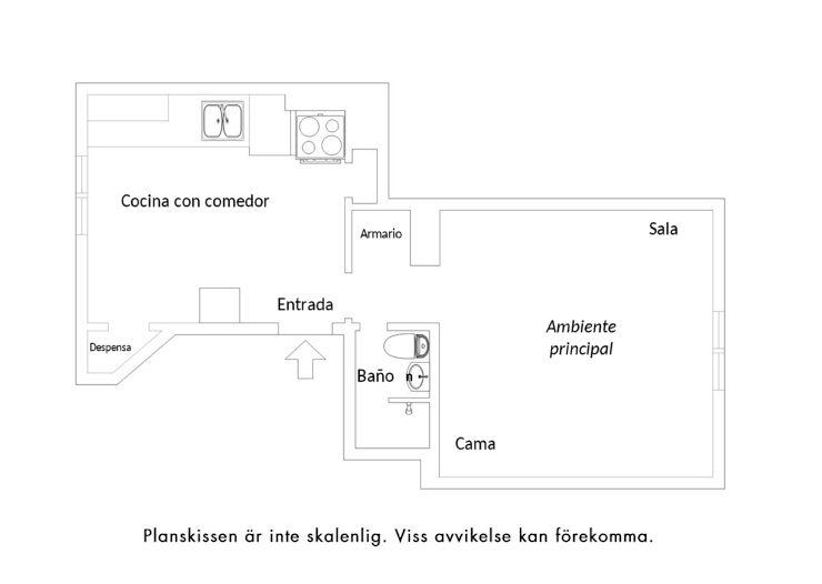 Plano del departamento tipo estudio de 37 metros²