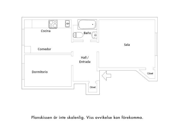 Plano del departamento de 1 habitación y 43,2 metros cuadrados